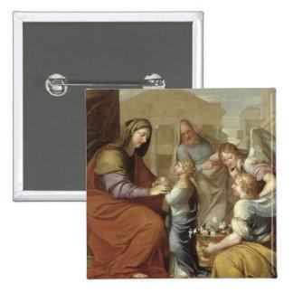 L'éducation de la Vierge, 1658 Badge Carré 5 Cm
