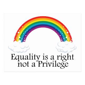 L'égalité est un juste pas un privilège carte postale
