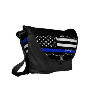 Légèrement arraché noir de drapeau américain de sacoches