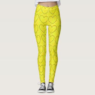 Leggings Amusement noir mignon jaune lumineux de motif de