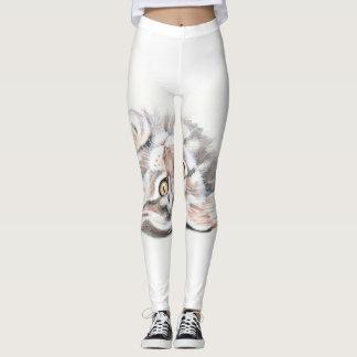 Leggings Aquarelle tigrée mignonne de chaton de ragondin du