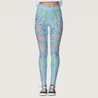 Leggings Art de griffonnage sur le bleu