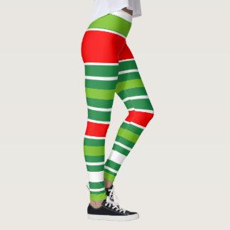 Leggings Blanc vert rouge de Noël traditionnel (votre