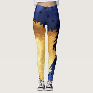 Leggings Bleu d'amusement d'aquarelle et or de faux