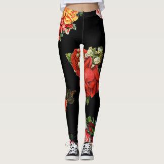 Leggings Boho floral de motif de rose de cru de roses de