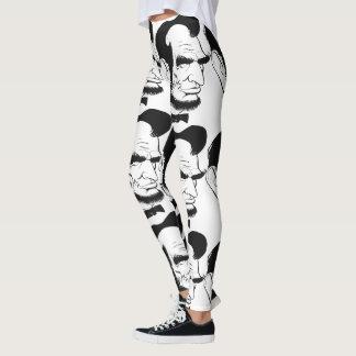 Leggings Caricature noire et blanche d'Abraham Lincoln