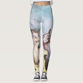 Leggings Chats, art original, couleurs en pastel, guêtres