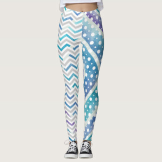 Leggings Chevron bleu d'aquarelle, guêtres de point de