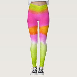 Leggings Chic vert rose au néon de hippie d'ikat