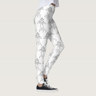 Leggings Chiffre noir et blanc motif de bâton d'ange mignon