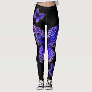 Leggings Conception élégante bleue de motif de papillon,