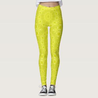 Leggings Cool sauvage de kaléidoscope de motif jaune au