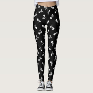 Leggings Crâne et os croisés de pirate de rockabilly de