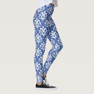 Leggings Damassé florale des années 1930 bleues et blanches