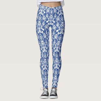Leggings Damassé moderne bleue et blanche marocaine de