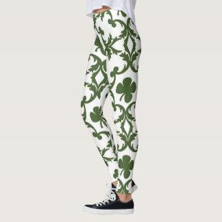 Leggings Damassé verte et blanche avec des shamrocks