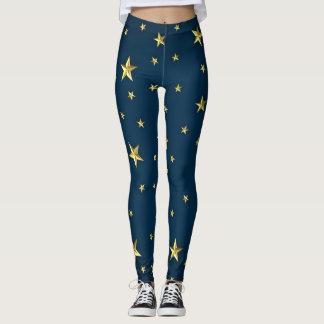 Leggings Étoiles de cool sur le motif bleu-foncé