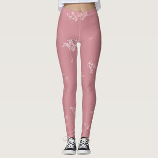 Leggings Feuille blanc sur le rose