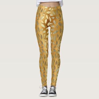 Leggings Feuille brillant d'or