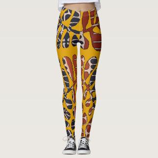 Leggings Feuille bronzage de résumés, style de Matisse,