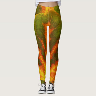 Leggings Feuille orange et jaune verte #1 d'Aspen