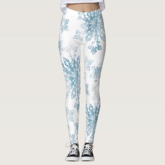 Leggings Flocons de neige bleus d'aquarelle