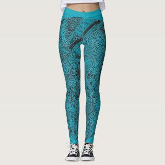 Leggings Griffonnage de turquoise