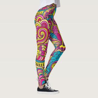 Leggings Griffonnages à la mode de style moderne abstrait