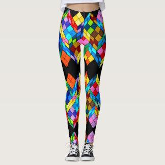 Leggings Guêtres abstraites de cubes colorés à la mode en