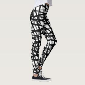 Leggings Guêtres abstraites noires et blanches