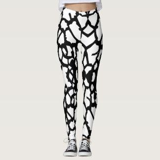 Leggings Guêtres blanches A-1 de noir de motif de girafe