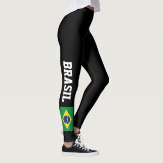 Leggings Guêtres brésiliennes de drapeau pour le gymnase de
