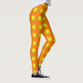 Leggings Guêtres de blocs d'orange et de jaune