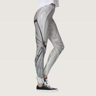 Leggings Guêtres de gris argenté avec le motif de papillon