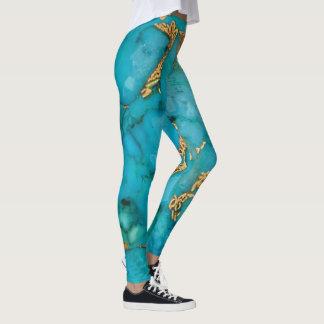 Leggings Guêtres de turquoise et d'or