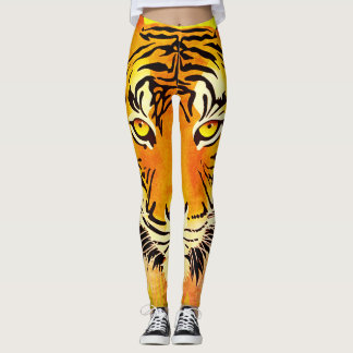 Leggings Guêtres d'impression d'aquarelle de tigre