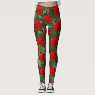Leggings Guêtres d'impression de rose rouge de Camo