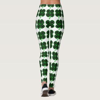 Leggings Guêtres du jour de trèfle de St Patrick vert noir