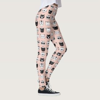 Leggings Guêtres idiotes de motif de visages de chat