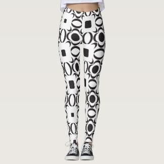 Leggings Guêtres noires et blanches de motif contemporain
