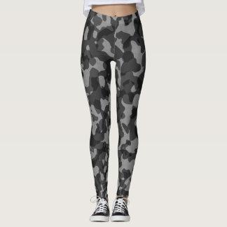 Leggings Guêtres noires/grises de camouflage