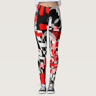 Leggings Guêtres rouges de puzzle