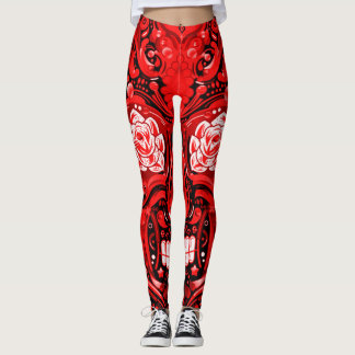 Leggings Guêtres rouges décoratives de crâne de sucre