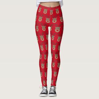 Leggings Guêtres rouges drôles de Noël avec le renne mignon
