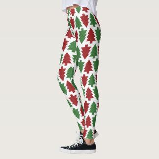 Leggings Guêtres rouges et vertes gaies d'arbre de Noël