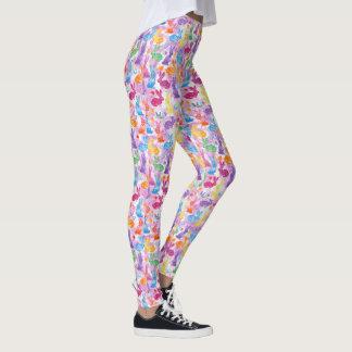 Leggings Heureux lumineux de lapin de WatercolorPatchwork