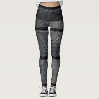 Leggings Jeans maigres de denim déchirés par patchwork