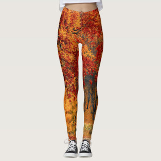 Leggings La chute laisse à des guêtres le rouge orange