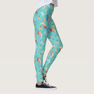 Leggings Le parapluie turquoise tropical d'aquarelle boit