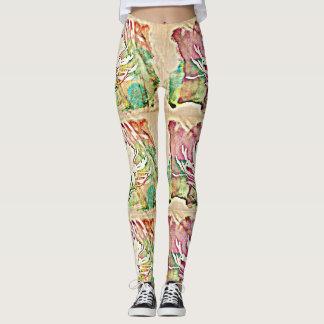 Leggings Les guêtres de cactus des femmes blanches de fleur